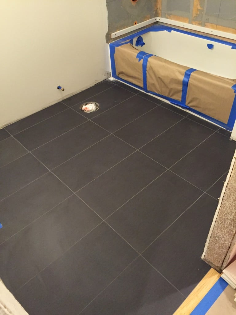 We tiled the floor first with a plank tile